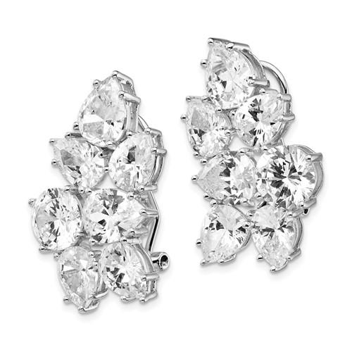 Sterling Silver CZ Fancy Omega Back Cluster Earrings