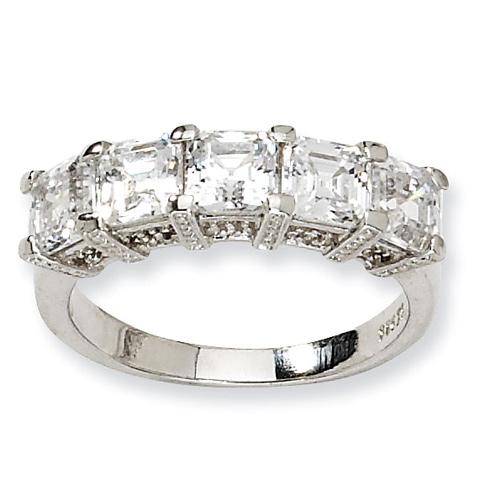Sterling Silver Asscher-cut CZ 5-stone Ring