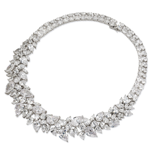 Sterling Silver Cubic Zirconia 15in Collar Necklace