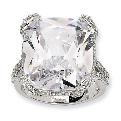 Sterling Silver 18mm Cubic Zirconia Ring