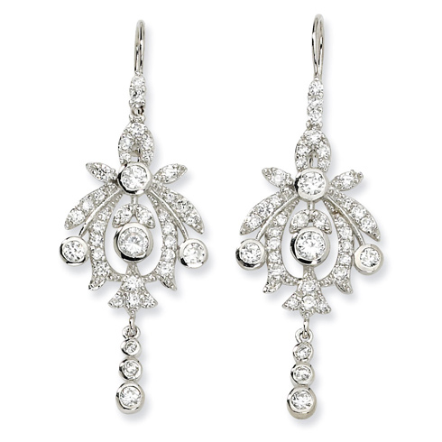 Sterling Silver CZ Chandelier French Wire Earrings