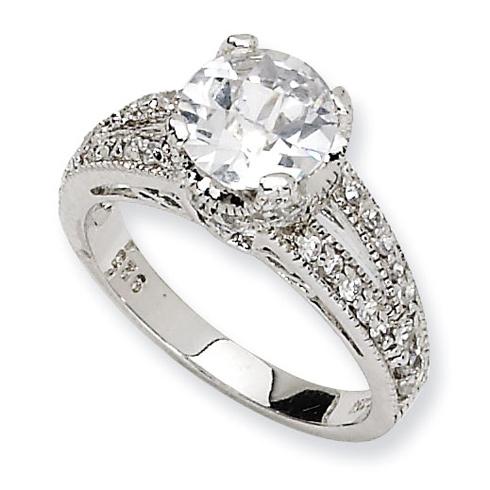 Sterling Silver Checker-cut CZ Ring