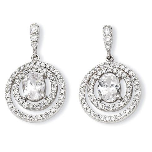 Sterling Silver Circle CZ Dangle Post Earrings