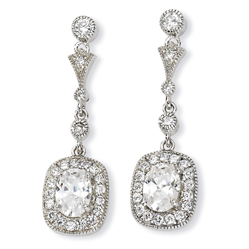Sterling Silver Oval CZ Dangle Post Earrings