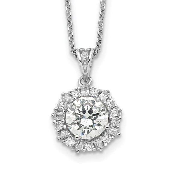 Sterling Silver CZ 18in Necklace
