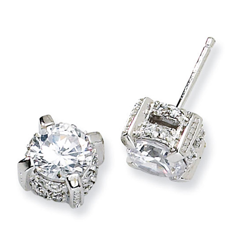 Sterling Silver 7mm CZ Post Earrings