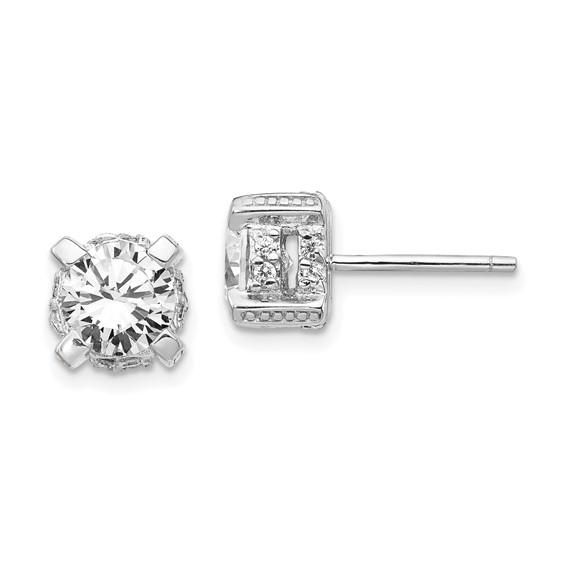Sterling Silver 7mm CZ Post Earrings