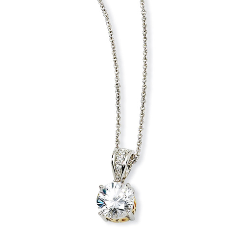 Sterling Silver & Gold-plated 8mm X & O CZ 18in Necklace