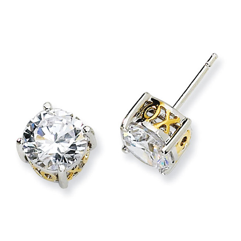 Sterling Silver & Gold-plated 8mm X & O CZ Stud Earrings