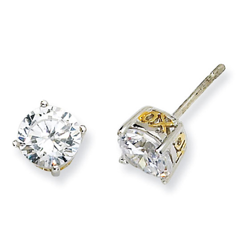 Sterling Silver & Gold-plated 6.5mm X & O CZ Stud Earrings