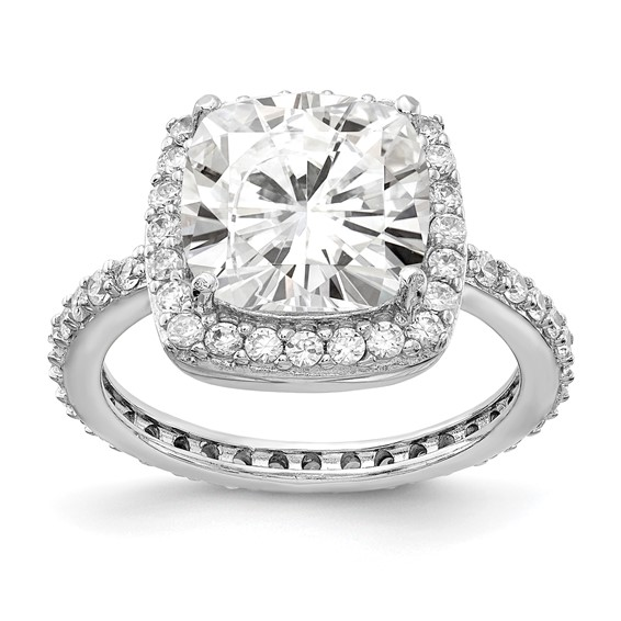 Sterling Silver Rose-cut CZ Square Ring