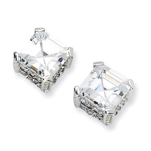 Sterling Silver 8mm Asscher-cut CZ Stud Earrings