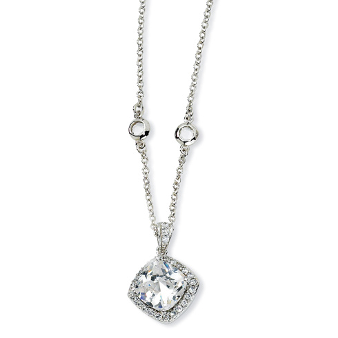 Sterling Silver Rose-cut CZ Square 18in Necklace