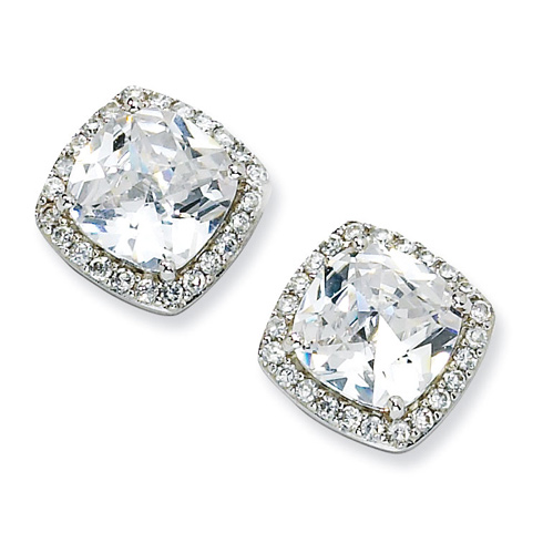 Sterling Silver Rose-cut CZ Square Post Earrings