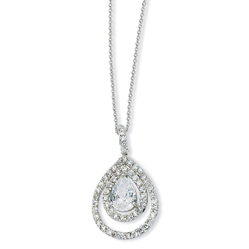 Sterling Silver Pear CZ 18in Necklace