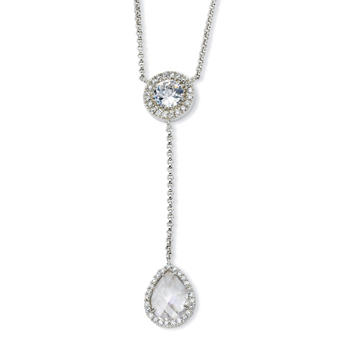 Sterling Silver Checker-cut CZ 17in Necklace