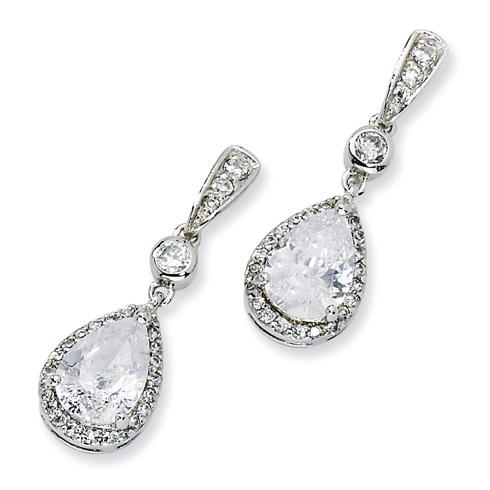 Sterling Silver Pear CZ Dangle Post Earrings