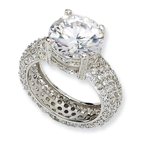 Sterling Silver Fancy CZ Pavé Ring