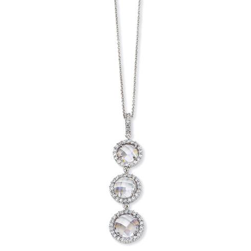 Sterling Silver Checker-cut CZ 3-stone 18in Necklace
