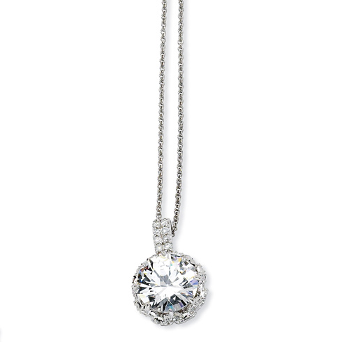 Sterling Silver Round CZ 18in Necklace