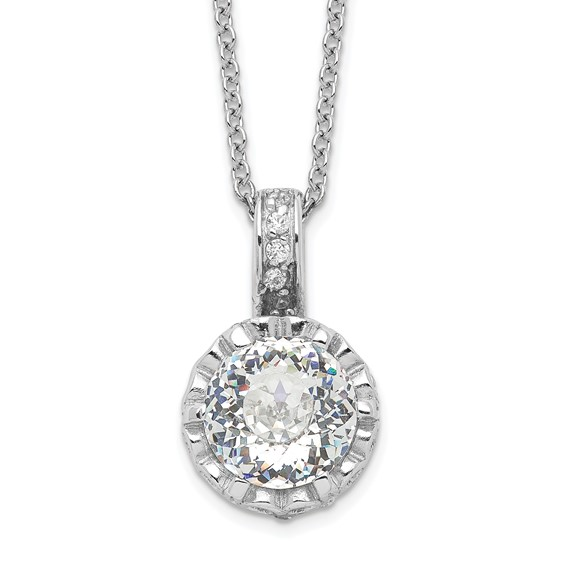 Sterling Silver 100-facet CZ 18in Necklace