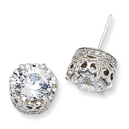 Sterling Silver 100-facet CZ Round Post Earrings