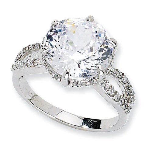 Sterling Silver 100-facet 13mm Cubic Zirconia Ring