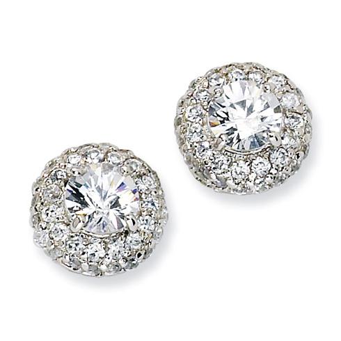 Sterling Silver Checker-cut White CZ Post Earrings