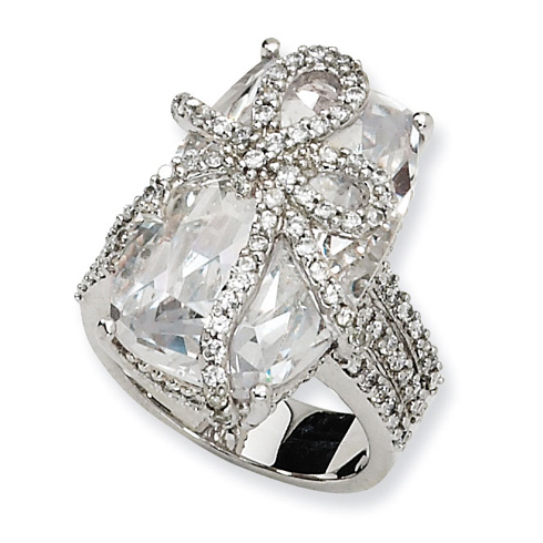 Sterling Silver Fancy CZ Bow Ring