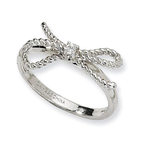 Sterling Silver Fancy Bow CZ Ring