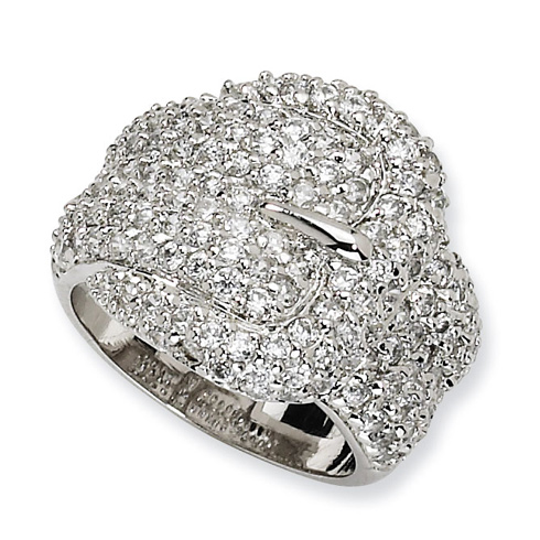 Sterling Silver Cubic Zirconia Buckle Ring Size 6