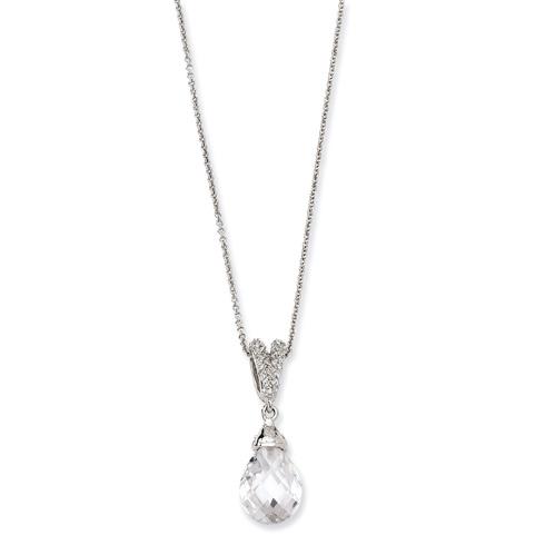 Sterling Silver Teardrop CZ 18in Necklace
