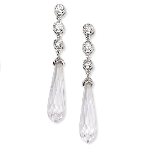 Sterling Silver CZ Faceted Teardrop Dangle Post Earrings