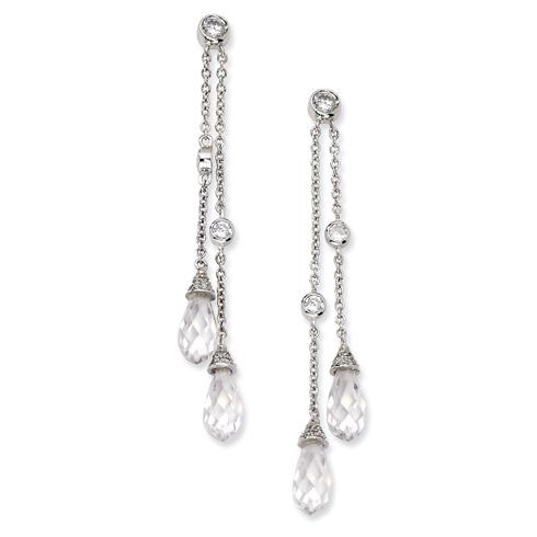Sterling Silver CZ Chain Dangle Post Earrings