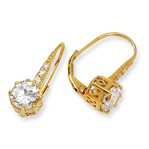 Gold-plated Sterling Silver CZ Leverback Earrings