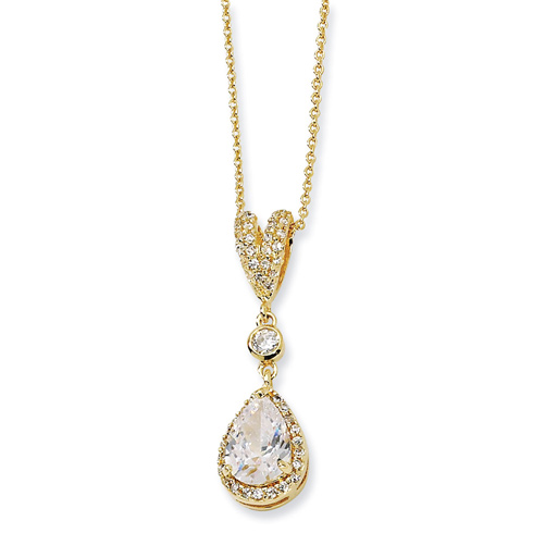 Gold-plated Sterling Silver Pear CZ 18in Necklace