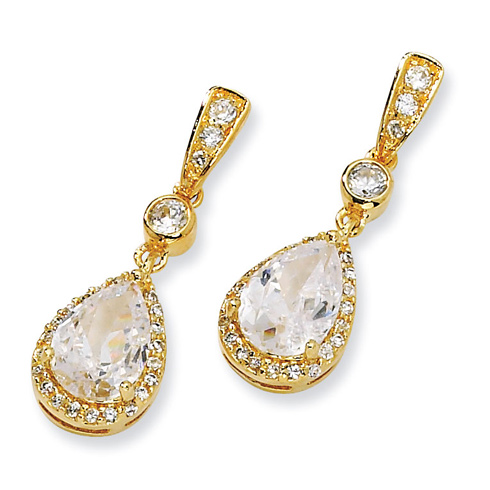 Gold-plated Sterling Silver Pear CZ Dangle Post Earrings