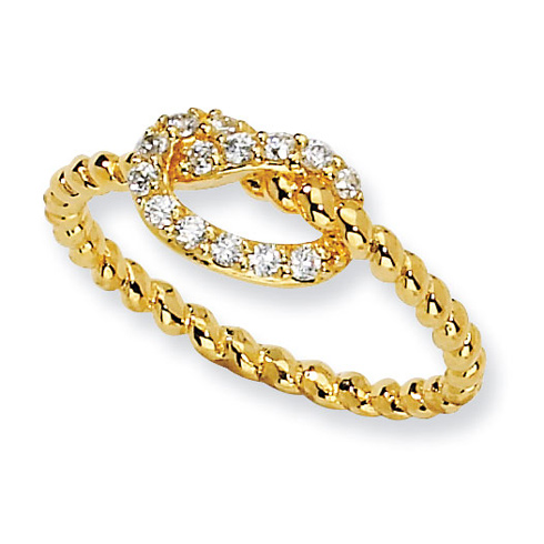 Gold-plated Sterling Silver CZ Knot Ring