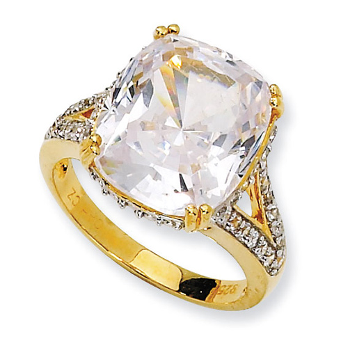 Gold-plated Sterling Silver CZ Ring
