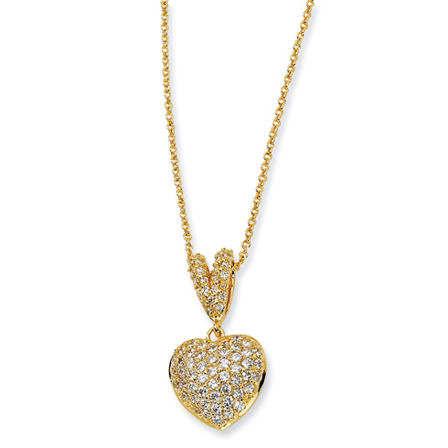 Gold-plated Sterling Silver CZ Heart 17.5in Necklace