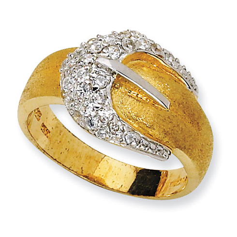 Gold-plated Sterling Silver Satin Belt CZ Ring