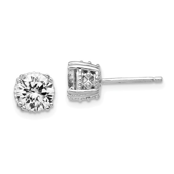 Sterling Silver 6.5mm CZ Stud Earrings