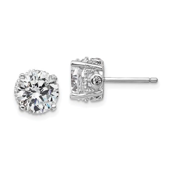 Sterling Silver 8mm CZ Stud Earrings