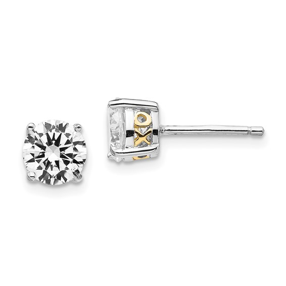 Sterling Silver & Gold-plated XO 6.5mm CZ Stud Earrings