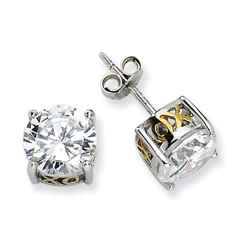 Sterling Silver & Gold-plated X & O 8mm CZ Stud Earrings