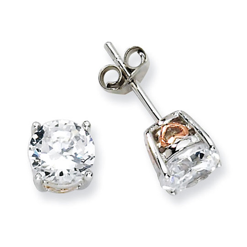 Sterling Silver & Rose Gold-plated Heart 6.5mm CZ Stud Earrings