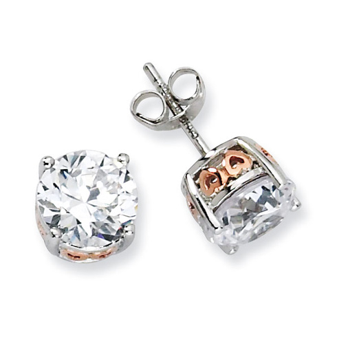 Sterling Silver & Rose Gold-plated Heart 8mm CZ Stud Earrings