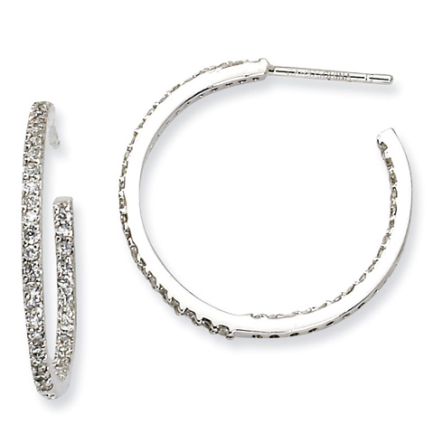 1in Sterling Silver In Out CZ Post Hoop Earrings
