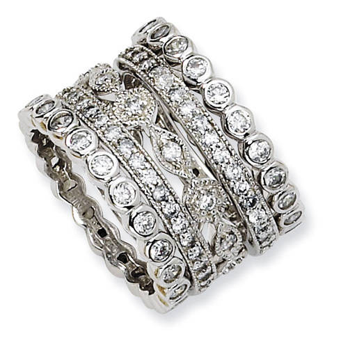 Sterling Silver Five-Piece Eternity Ring Set