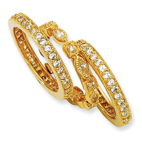 Gold-plated Sterling Silver CZ Eternity Three Ring Set